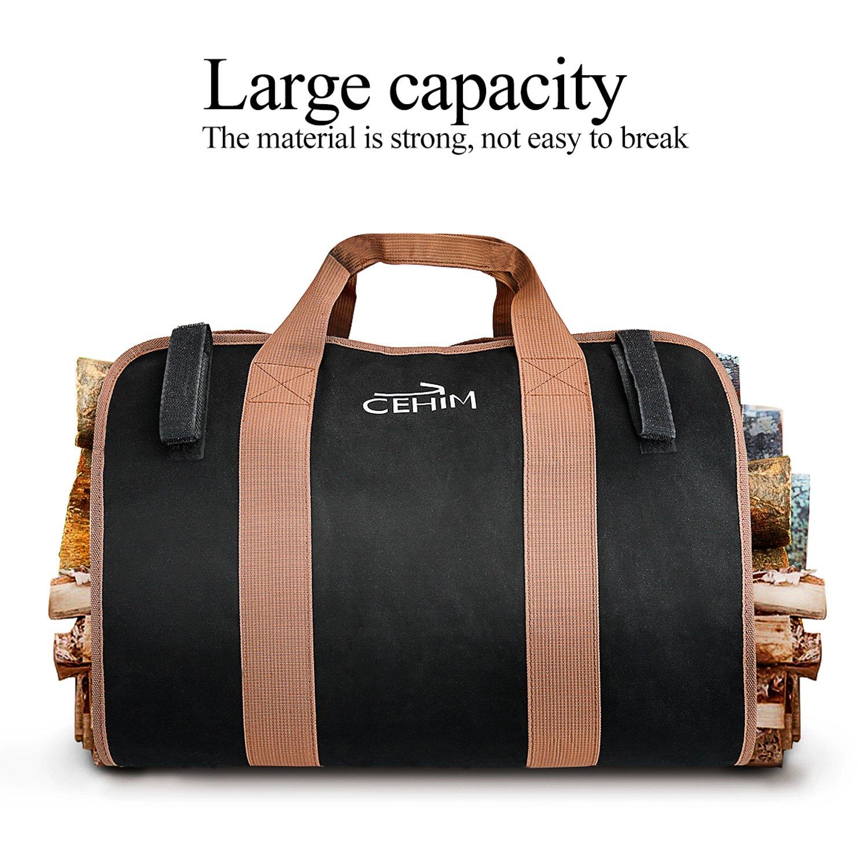 Cehim Firewood Carry Bag Durable Heavy Duty Canvas Wood
