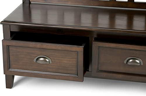 Simpli Home Burlington SOLID WOOD 42 inch Wide Entryway Storage Bench with 2 Drawers, Multifunctional, Traditional, in Espresso Brown