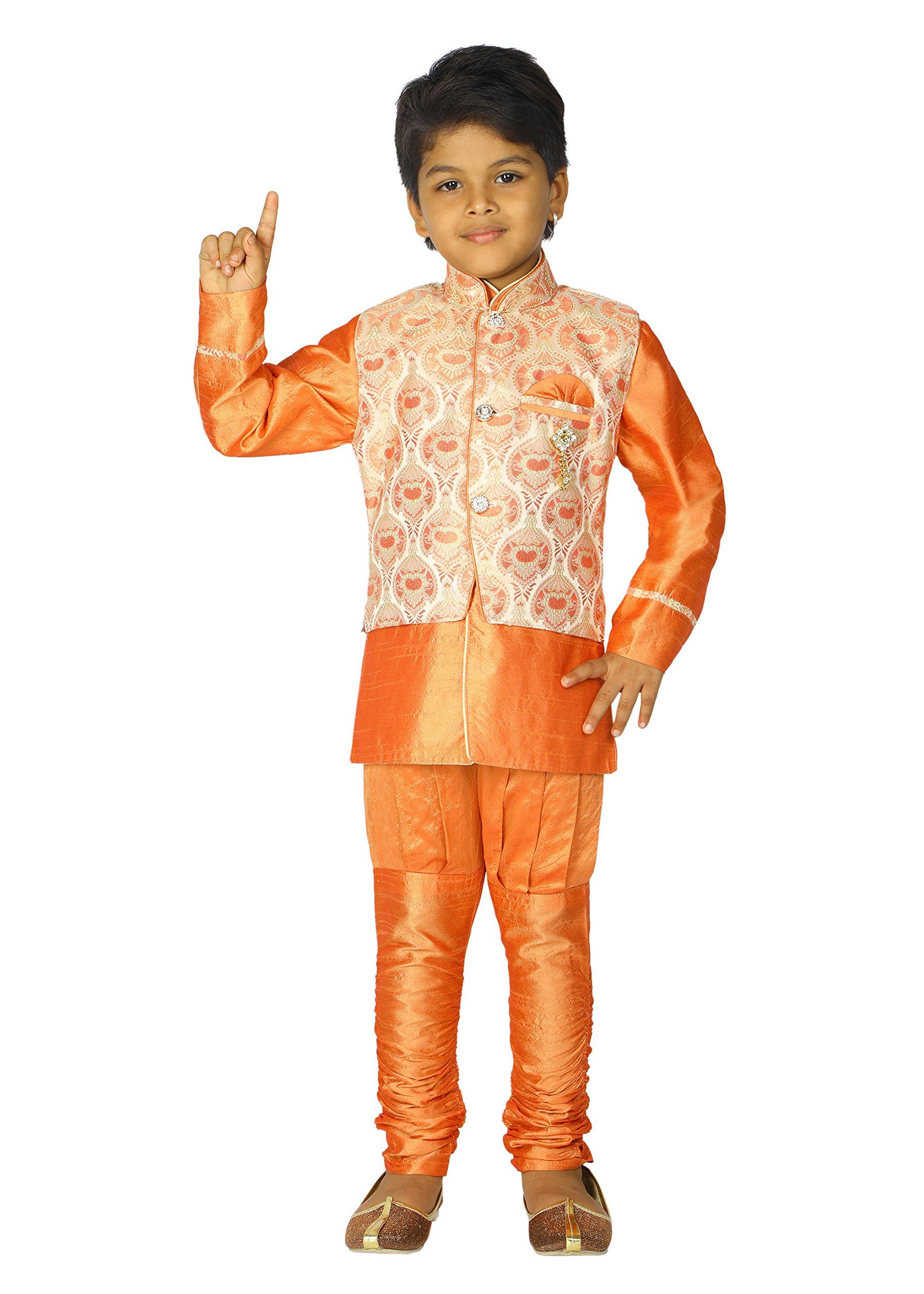 Ahhaaaa Kids Ethnic Indian Dupion Silk Kurta Pyjama and Waistcoat Set for Baby Boys (9-10 Years, Orange)