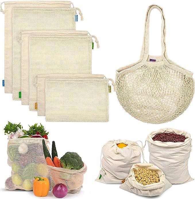 Reusable Produce Bags, Organic Cotton Mesh Bags