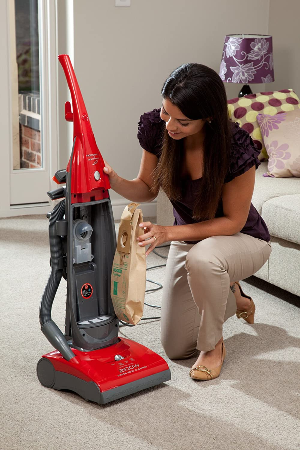 Hoover PurePower PU2110 Bagged Upright Vacuum Cleaner With Micro Filtration, 2100 Watt