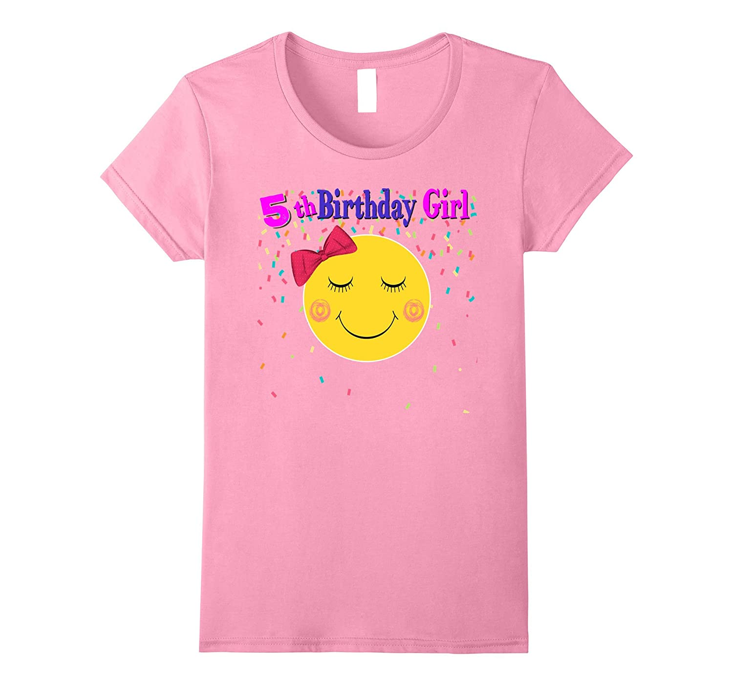 5th Birthday Girl Shirt Cute Emoji Birthday T shirt-Art