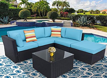 Incbruce Patio Furniture Sofa Set 4-Piece Outdoor Sectional Sofa of 5 Seats  with Ottoman and Black Wincker, Tempered Glass Top Table, Sky Blue ...