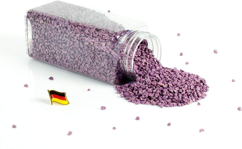 INNA-Glas Granulado Decorativo - Piedras Decorativas ASLAN, Lila, 3-8mm, 605ml Bote, Producido en Alemania - Piedrecitas de Colores