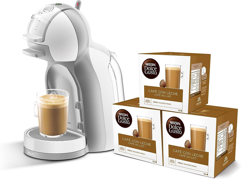 Pack Krups Dolce Gusto Mini Me KP1201 - Cafetera de cápsulas, 15 bares de presión, color blanco y gris + 3 packs de café Dolce Gusto Con Leche: Amazon.es: Hogar