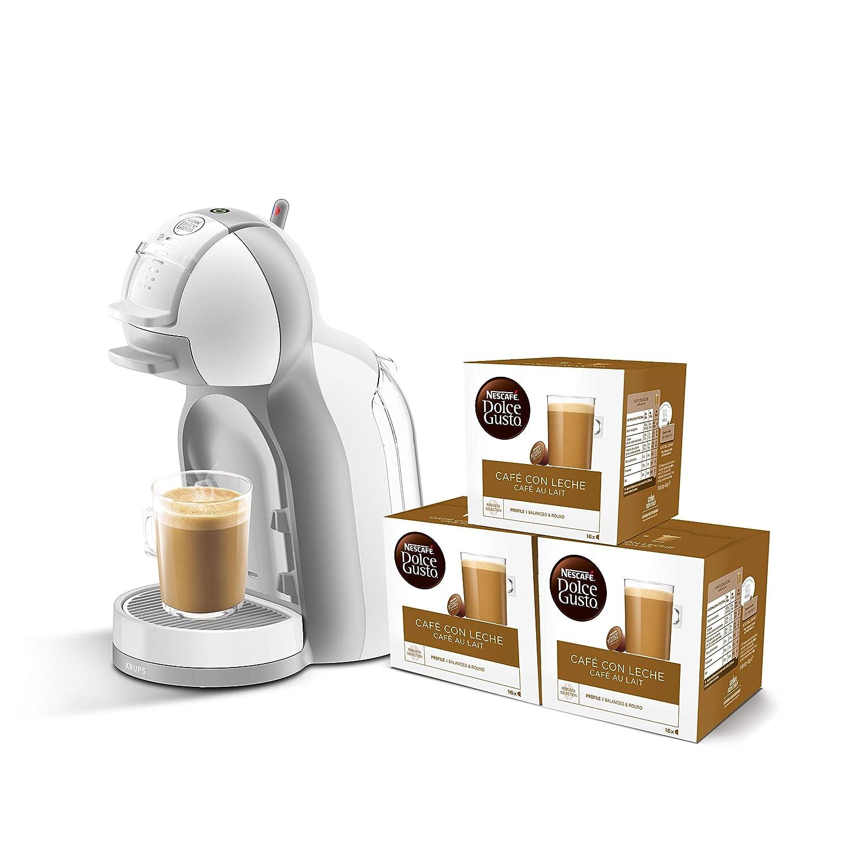 3 packs de caf/é Dolce Gusto Con Leche 15 bares de presi/ón Pack Krups Dolce Gusto Mini Me KP1201 color blanco y gris Cafetera de c/ápsulas