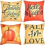 Beeager Fall Pillow Covers 4 Packs, 18x18 Inches Pumpkin Harvest Autumn Throw Pillowcases, Thanksgiving Pumpkin Theme…