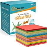 Origami Paper- 1100 pcs Double Sided Square Origami Paper Sheets in Vivid Colours- Origami Folding Paper- DIY Origami Paper A