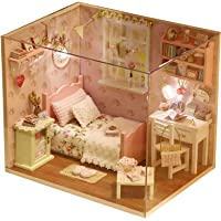 DIY Wooden Dollhouse Handcraft Miniature Kit- Bedroom Model & all furniture