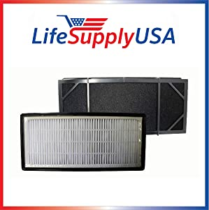LifeSupplyUSA 2 Pack Replacement Filter Compatible with Honeywell HHT-011 Air Purifier Filter Kit and 16200 16216 Desktop Air Purifier Part # HRF-B2C (HRFB2C), 3811-350, 16216, 30LB1620XB2, HRF-C1