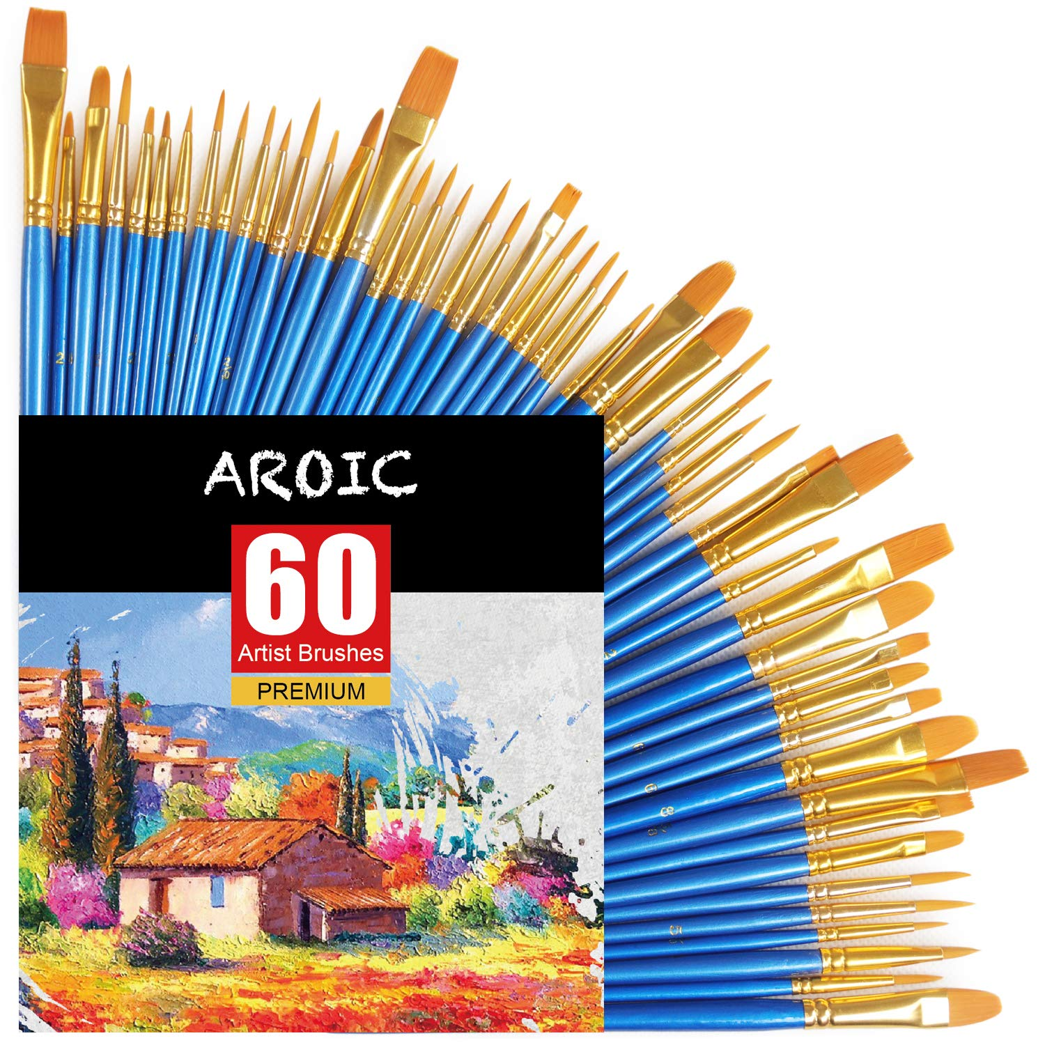 Acrylic Paint Brush Set, 6 Packs / 60 pcs Nylon Hair Brushes for All Purpose Oil Watercolor Painting Artist Professional Kits by AROIC