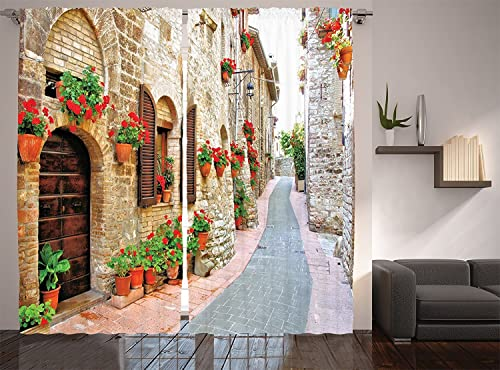 Ambesonne Tuscan Curtains, Porch with Colorful Flowers at an Old Street in Town in Italy in Sunny Day, Living Room Bedroom Window Drapes 2 Panel Set, 108 X 90 , Vermilion Brown