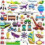 Puffy Sticker for Kids 8 Sheets (400+ Pieces) of Vehicle Transport Car Themed 3D Cartoon Style Reusable Foam Stickers Sheets, Toys for Kids, Children, Boys, Toddlers.