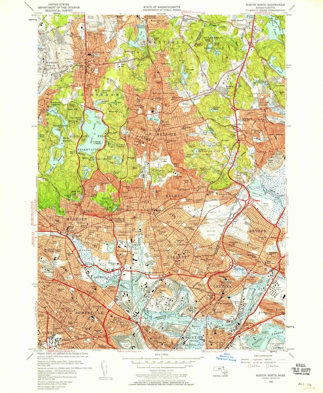 Amazon.com : YellowMaps Boston North MA topo map, 1:24000 ...