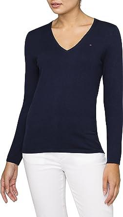 Tommy Hilfiger Damen Pullover NEW IVY V-NK SWTR, Blau (CORE NAVY 475