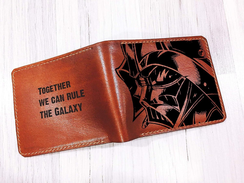 Dark Vader Anakin Skywalker customized genuine leather handmade mens wallet Unik4art bifold starwars gift for dad boyfriend husband