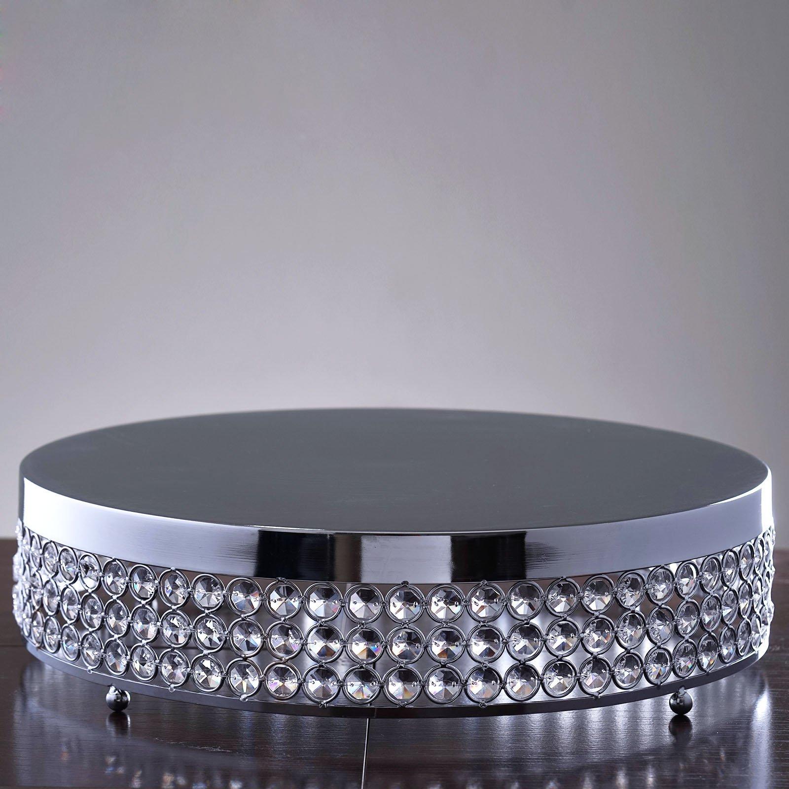 Tableclothsfactory Grand Wedding Beaded Crystal Metal Cake Stand - 15.5'' Diameter