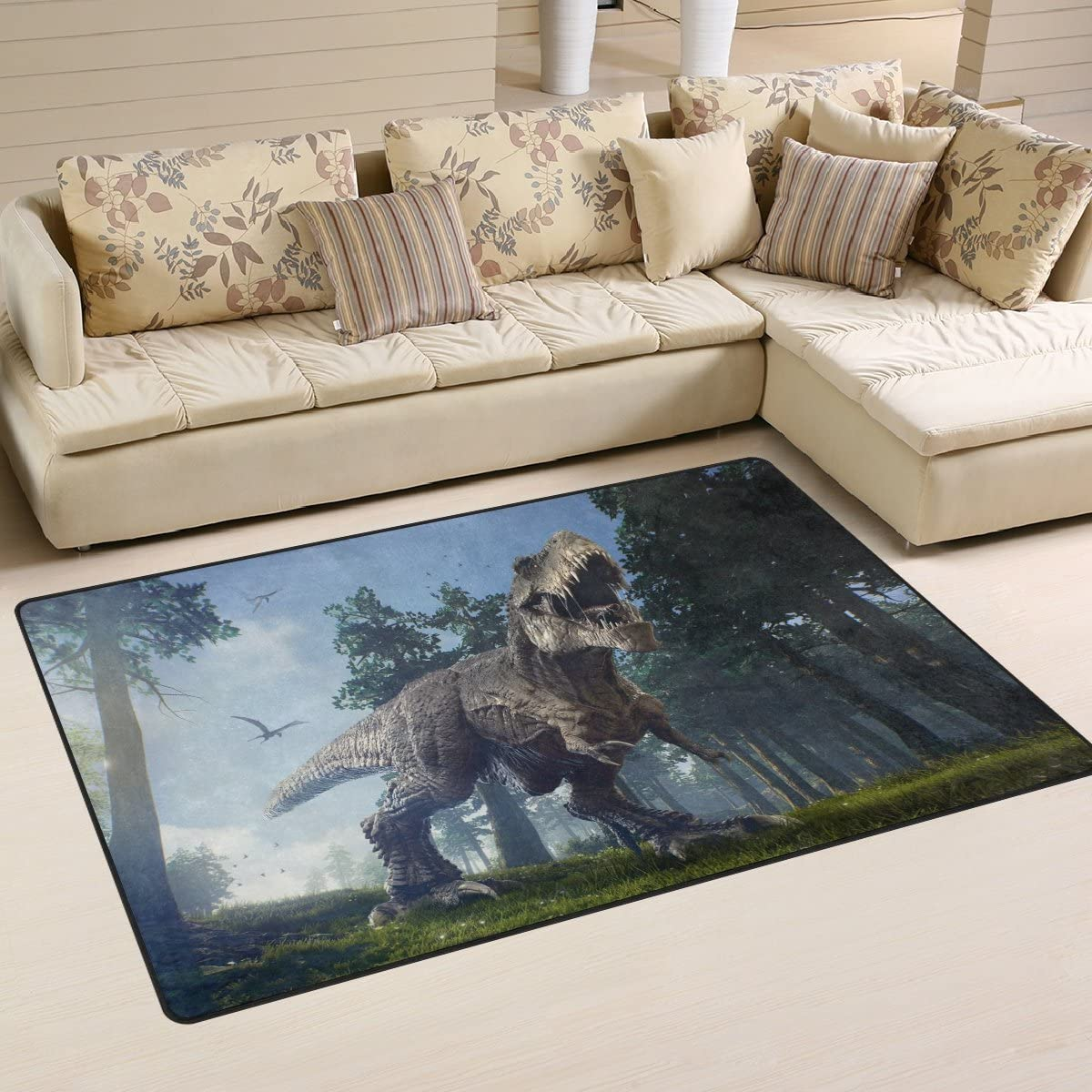 Yochoice Non-slip Area Rugs Home Decor, Vintage Rex Roaring Dinosaur Blue Sky Forest Floor Mat Living Room Bedroom Carpets Doormats 60 x 39 inches