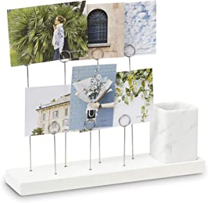 Umbra Gala Photo Display, Multi Gallery for 7 Images Plus Planter/Pen Holder, Desk Picture Frame, White
