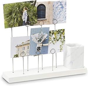 Umbra Gala Photo Display, Multi Gallery for 7 Images Plus Planter/Pen Holder, Desk Picture Frame, White