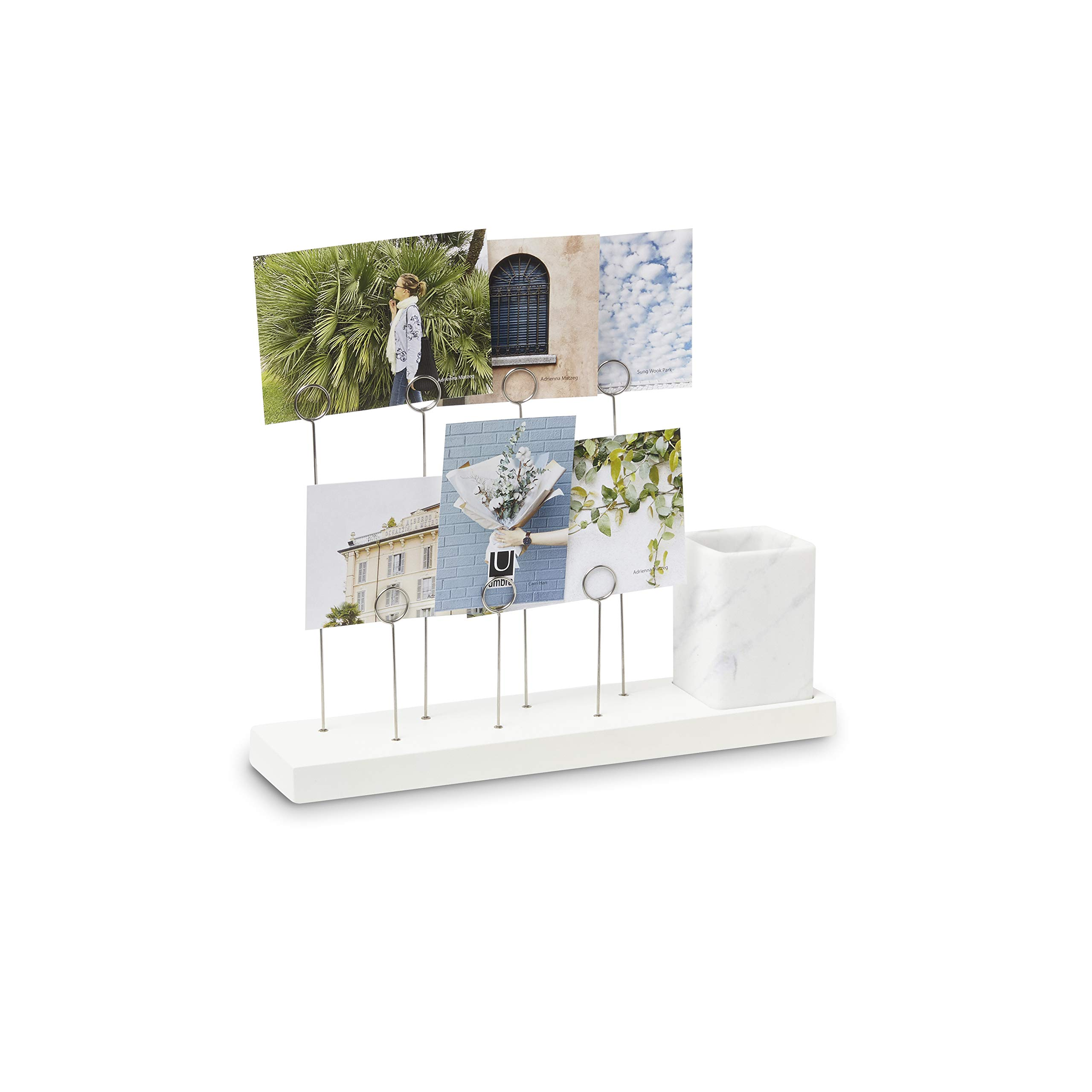 Umbra Gala, Multi Built in Planter or Pen Holder for Desk, Non Picture Frame with 7 Photo Clips, White by Umbra