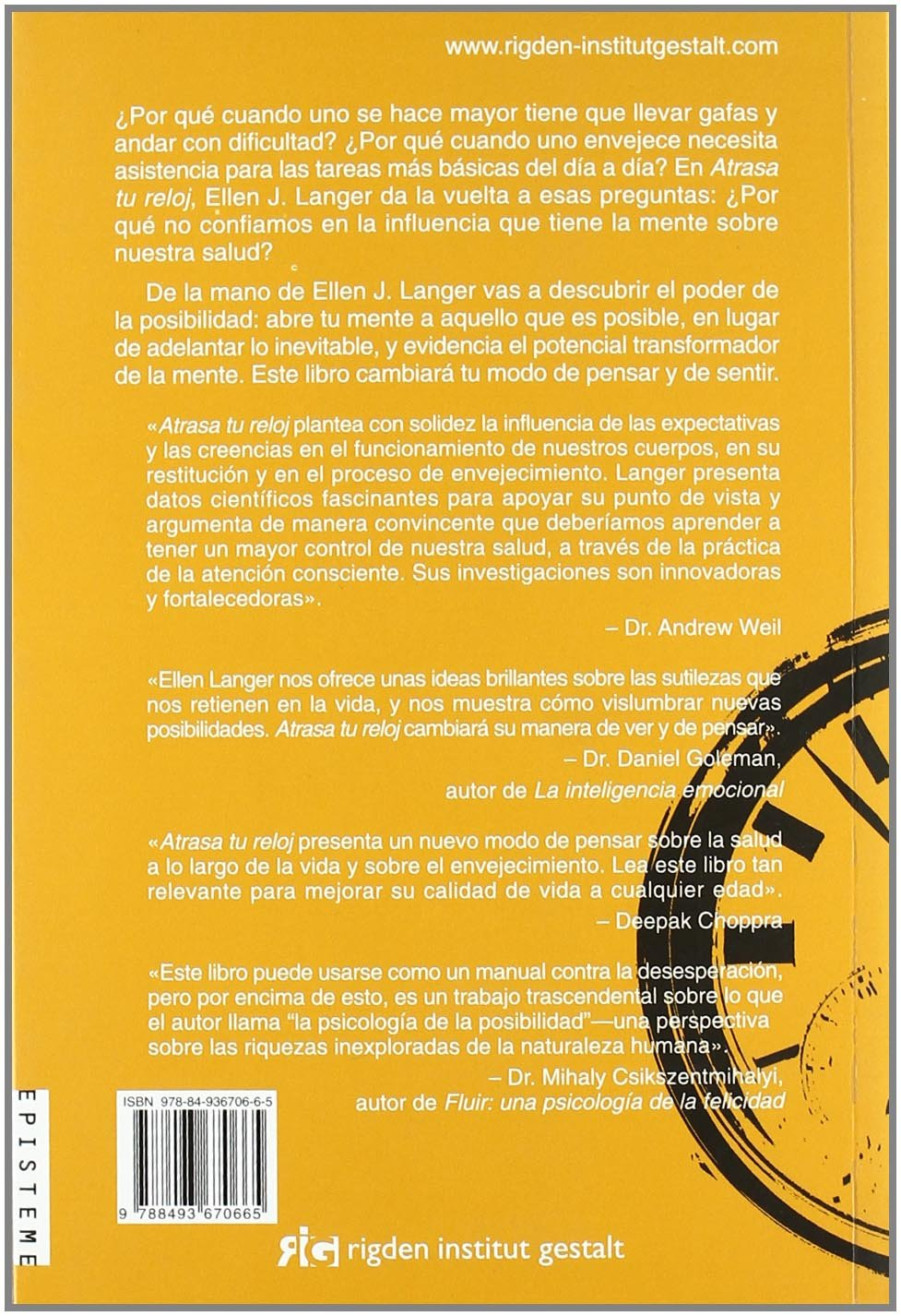 Atrasa tu reloj / Slows your clock (Spanish Edition): Ellen Langer: 9788493670665: Amazon.com: Books