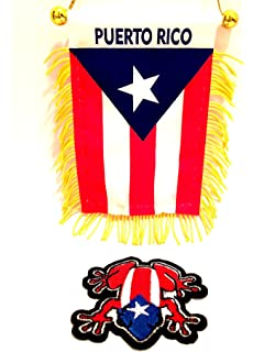 Puerto RICO Mini Banner car Flag,Nuestra Hermosa Bandera Boricua & Coqui Flag Patch