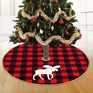 Christmas Tree Skirt Patterns.48 Inch Christmas Tree Skirt Luxury Thick Heavy Velvet Red Black Moose Pattern Soft Snow Deer Tree Skirts Xmas Holiday Home Decor Christmas Ornaments