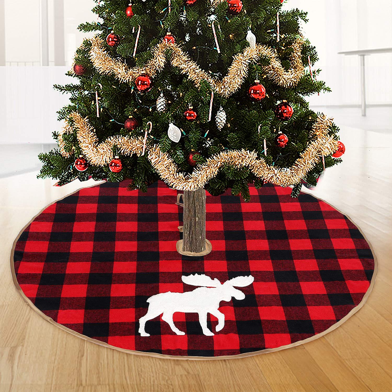 48 inch Christmas Tree Skirt Luxury Thick Heavy Velvet Red Black Moose Pattern Soft Snow Deer Tree Skirts Xmas Holiday Home Decor Christmas Ornaments