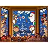 Yusongirl Christmas Stickers Snowflake Window Cling for Window Glass Reusable Christmas Decorations Santa Snowman Snowflake S