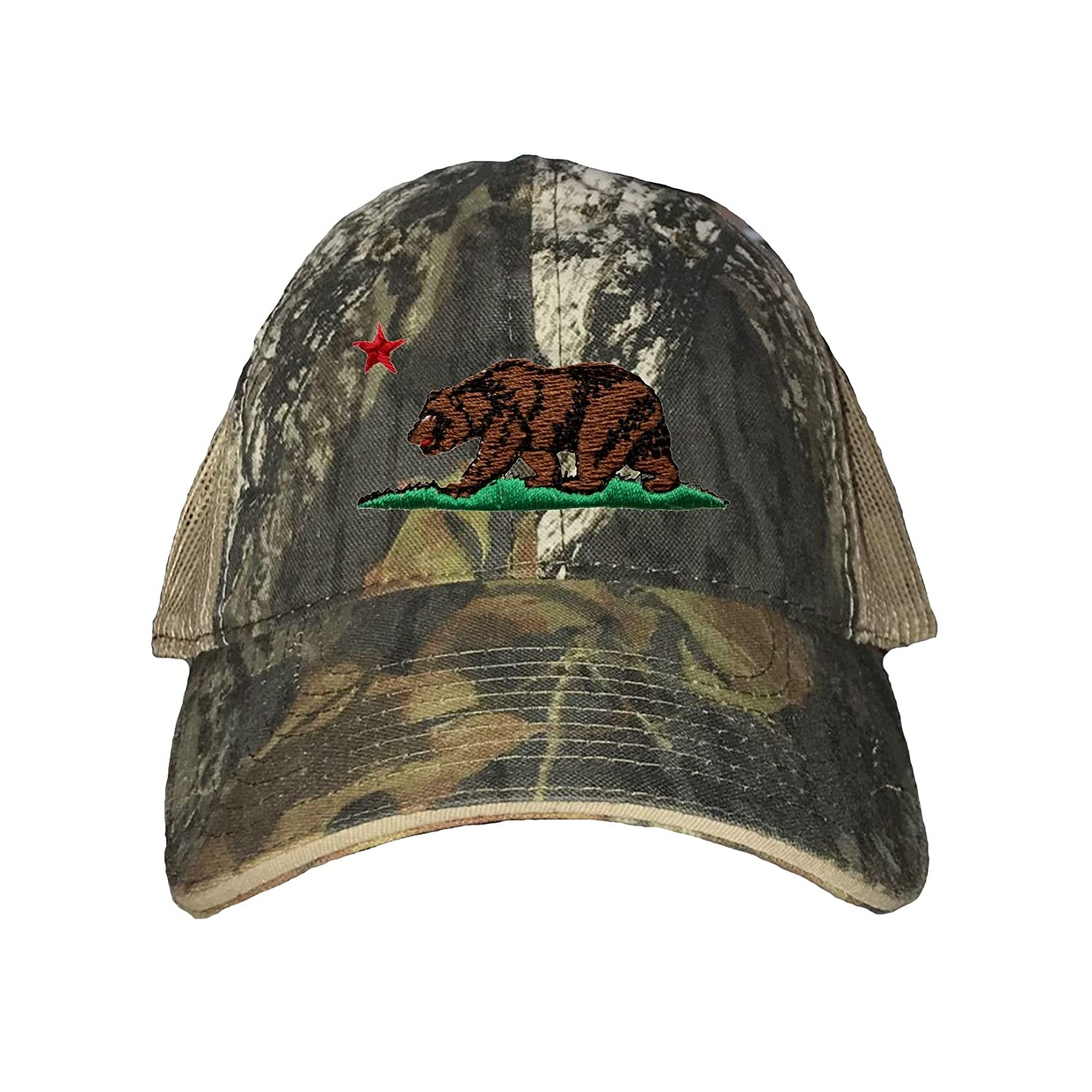 c942841c4ce Amazon.com  Go All Out One Size Black Grey Adult California Republic Bear  Embroidered Distressed Trucker Cap  Clothing
