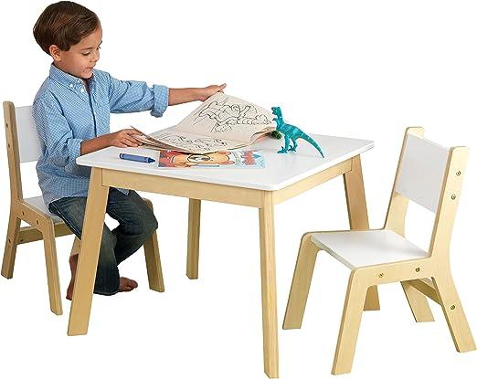 KidKraft- Mesa con 2 sillas de madera y blanca, para sala de ...