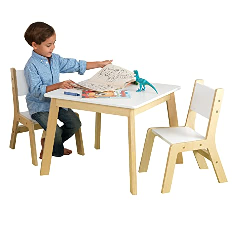 KidKraft 27025 Juego infantil de mesa moderna con 2 sillas de madera, muebles para salas de juego y dormitorio de niños - Blanco