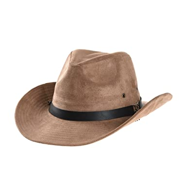 WITHMOONS Cowboy Cappello a tesa larga Suede Indiana Jones Hat Outback Hat  Fedora With Cord CD8858 (Beige)  Amazon.it  Abbigliamento 9d361c4f2a29