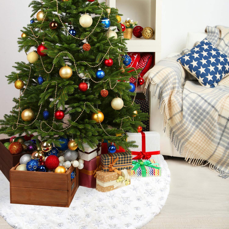 argent/é Tacobear Jupe Sapin de No/ël 122cm Blanc Peluche Grand Tapis de Sapin Couvre Pied Sapin No/ël avec Flocon de Neige Christmas Tree Skirt F/ête Vacances No/ël D/écor