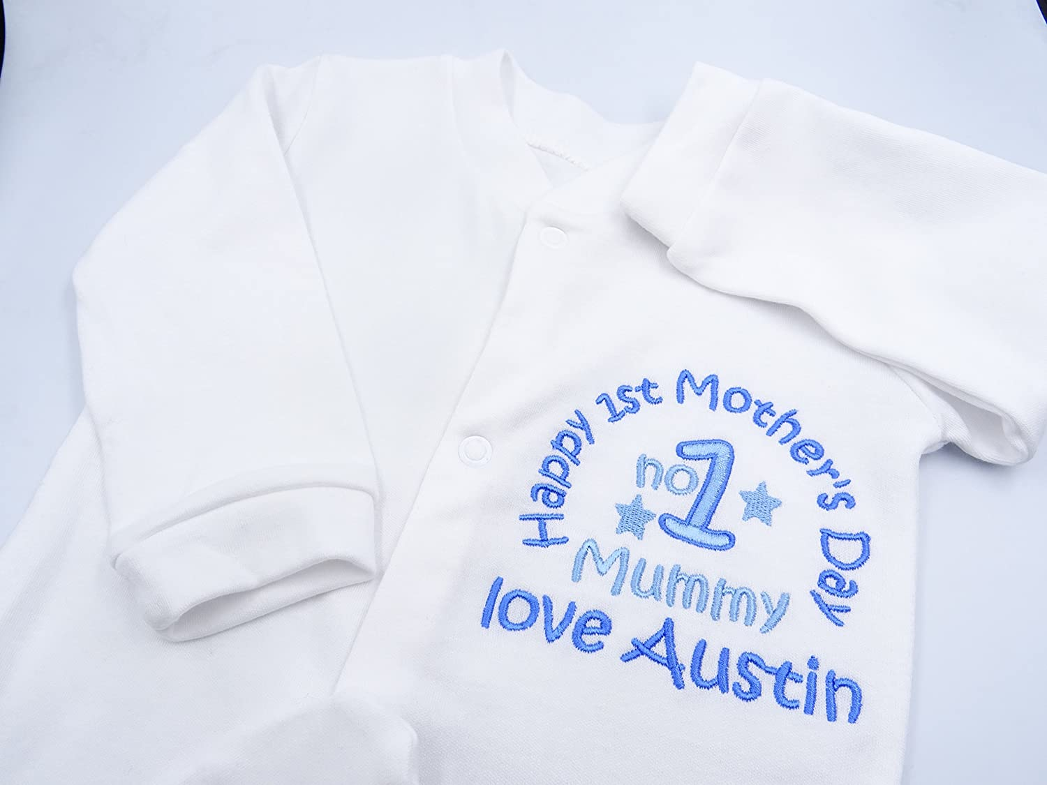 Boys Novelty Unique Gift /& Keepsake **Add Any Name** NO 1 Mummy Happy 1ST Mothers Day Mummy Personalised Embroidered Baby Boys Sleepsuit//Babygrow 0-3 Months