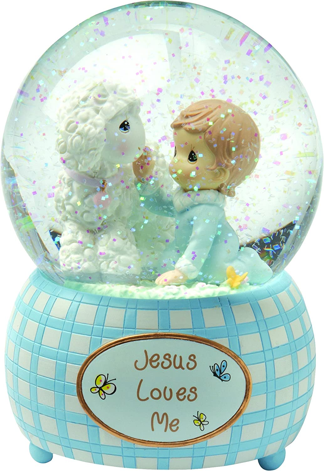 Precious Moments,Jesus Loves Me, Boy, Resin Snow Globe, 102404