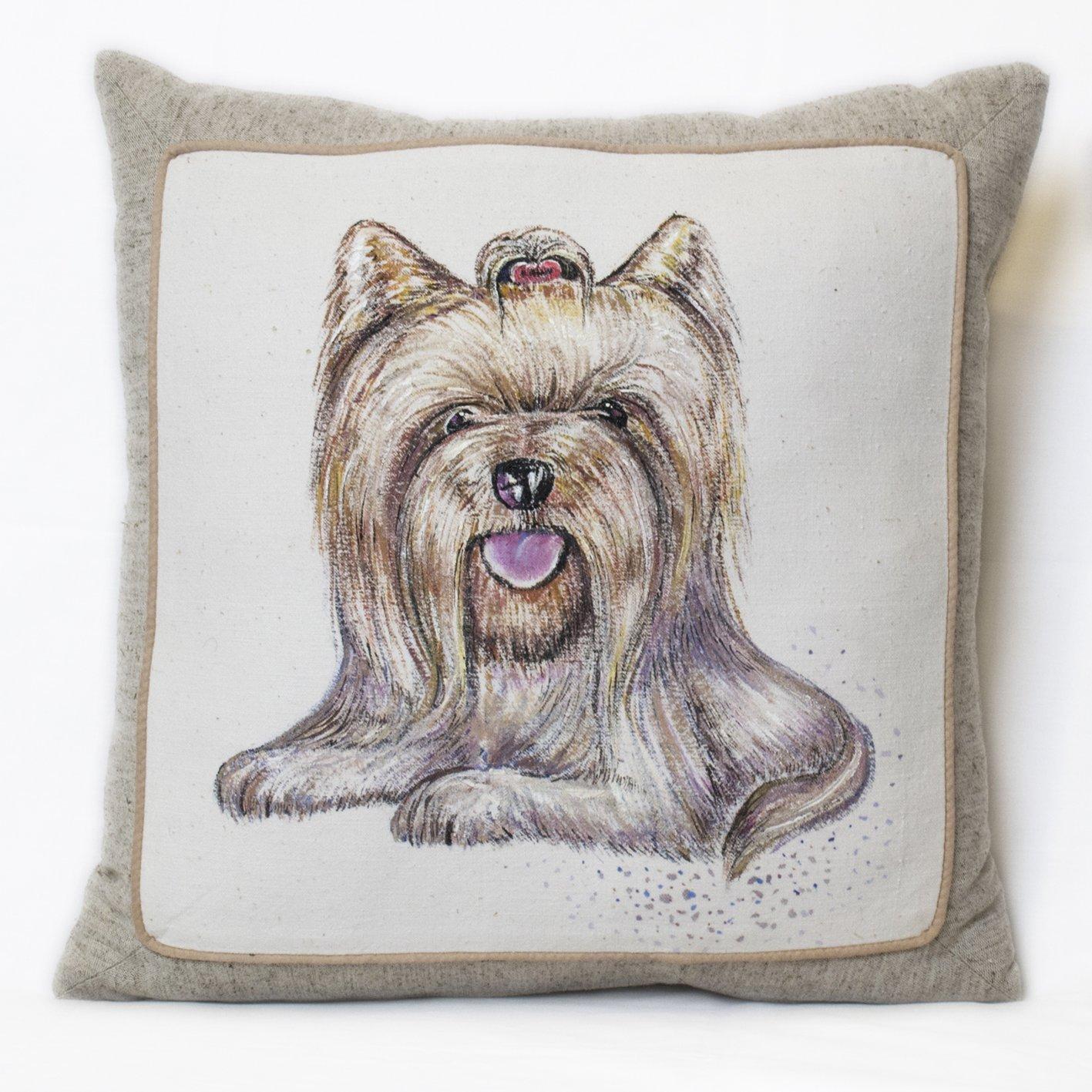 Hecho a mano almohada de algodón relleno hipoalergénico York perro imagen decorativa cama cojín: Amazon.es: Hogar