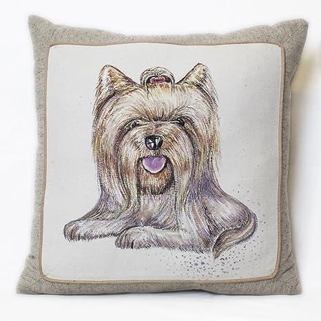 Hecho a mano almohada de algodón relleno hipoalergénico York perro imagen decorativa cama cojín