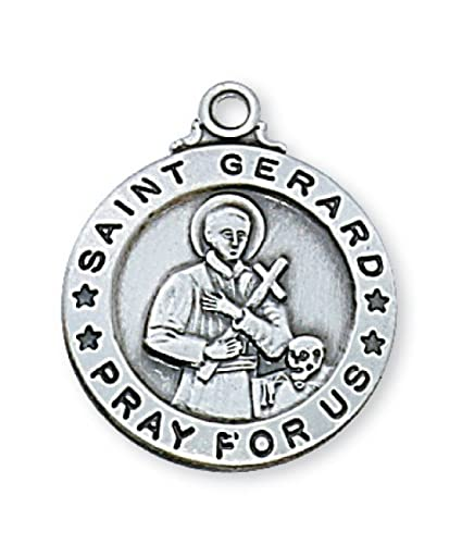 Amazon pewter st gerard medal 24 chain prayer card set pewter st gerard medal 24quot chain aloadofball Image collections