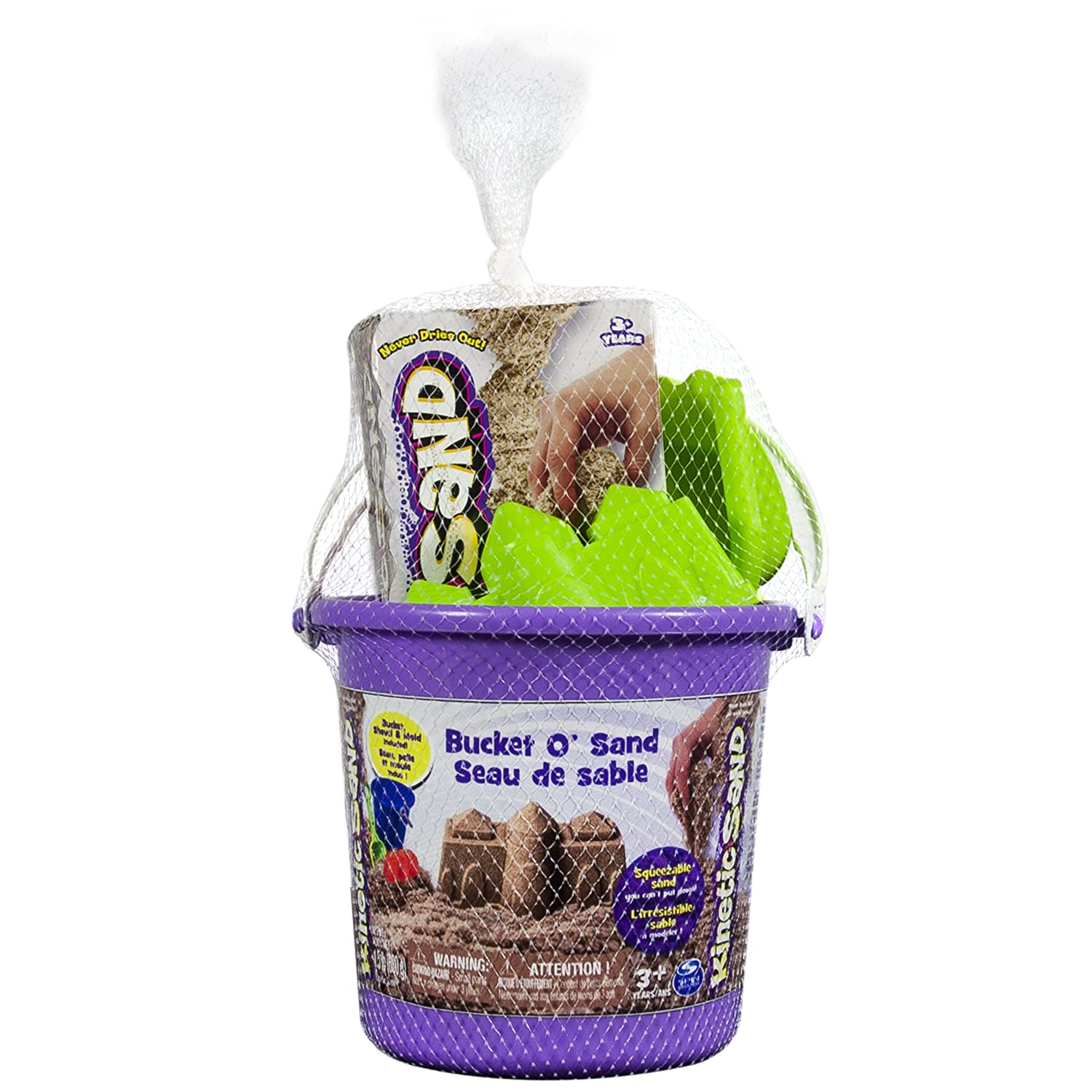 Bucket OSand 1.5 pounds Brown Kinetic Sand with Castle Mold and Shovel Spin Master 6025144