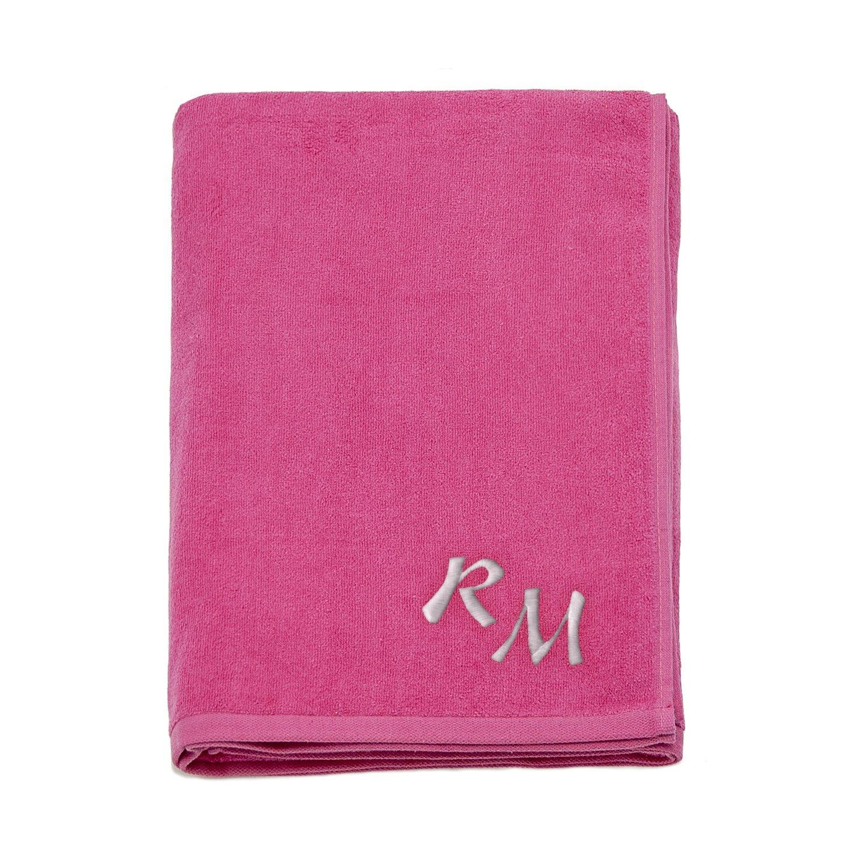 Grande 100% algodón bordado Monogram toalla de playa toallas de baño toallas de vacaciones, 100% algodón, Fucsia, 100cm x 180cm (39