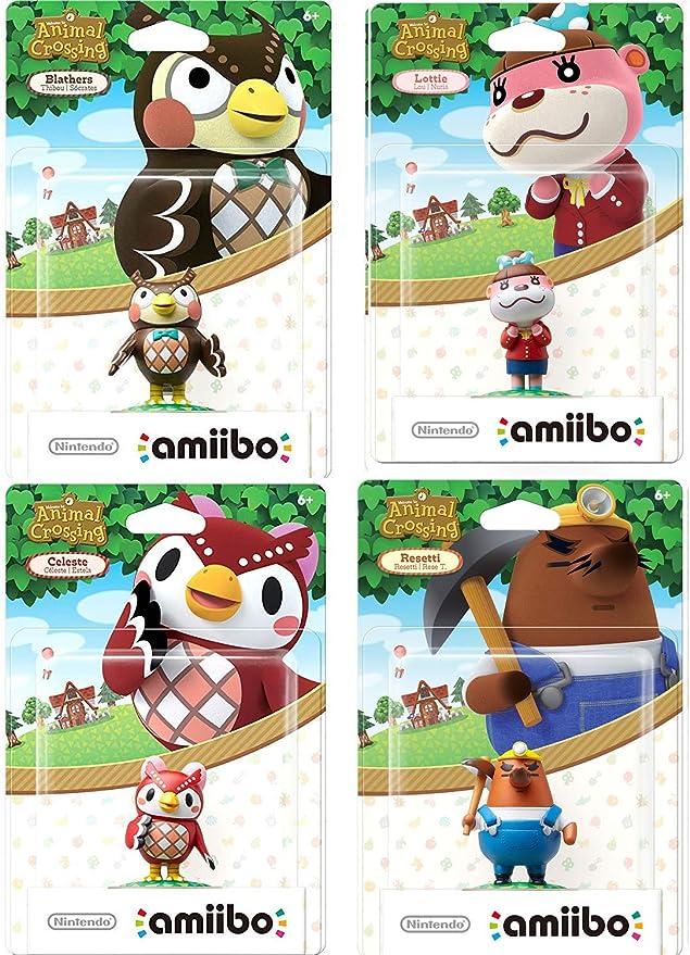 amiibo Cross Bienvenido Animal Figure Buddies Pack Personaje World Blather/Celeste Búhos/Resetti + Lottie Happy Home Designer Crossing 4 artículos: Amazon.es ...