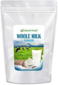Powdered Whole Milk - 5 lb Bulk Size - Dry Milk Powder - Dried For Emergency Long Term Food Storage - Great For Cooking, Baking, Cereal, Coffee, & Tea - Non GMO & Gluten Free