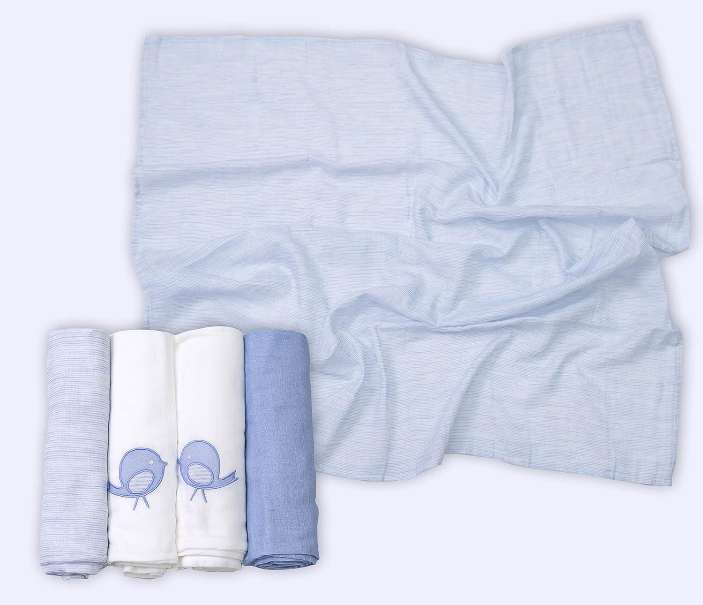 Extra Grande, 100/% algod/ón, 100 x 100 cm Pa/ñales de Gasa Color Azul y Blanco ToTs by Smartrike 160-101