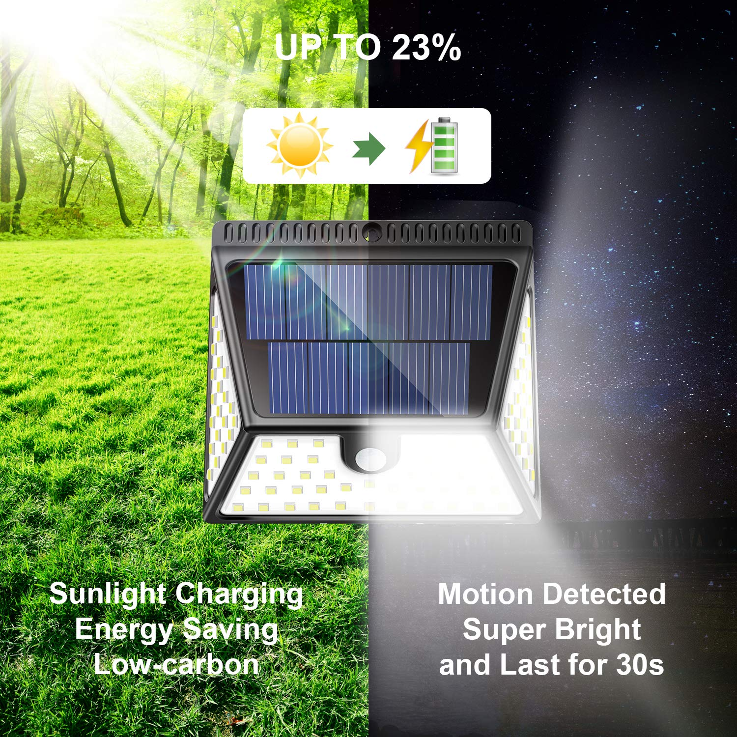Motion Sensor Light Outdoor with Wide Angle Illumination,82 LEDs Outdoor Solar Lights Waterproof Wall Light Wireless Security Night Light for Driveway Garden Step Stair Fence Deck 4pack
