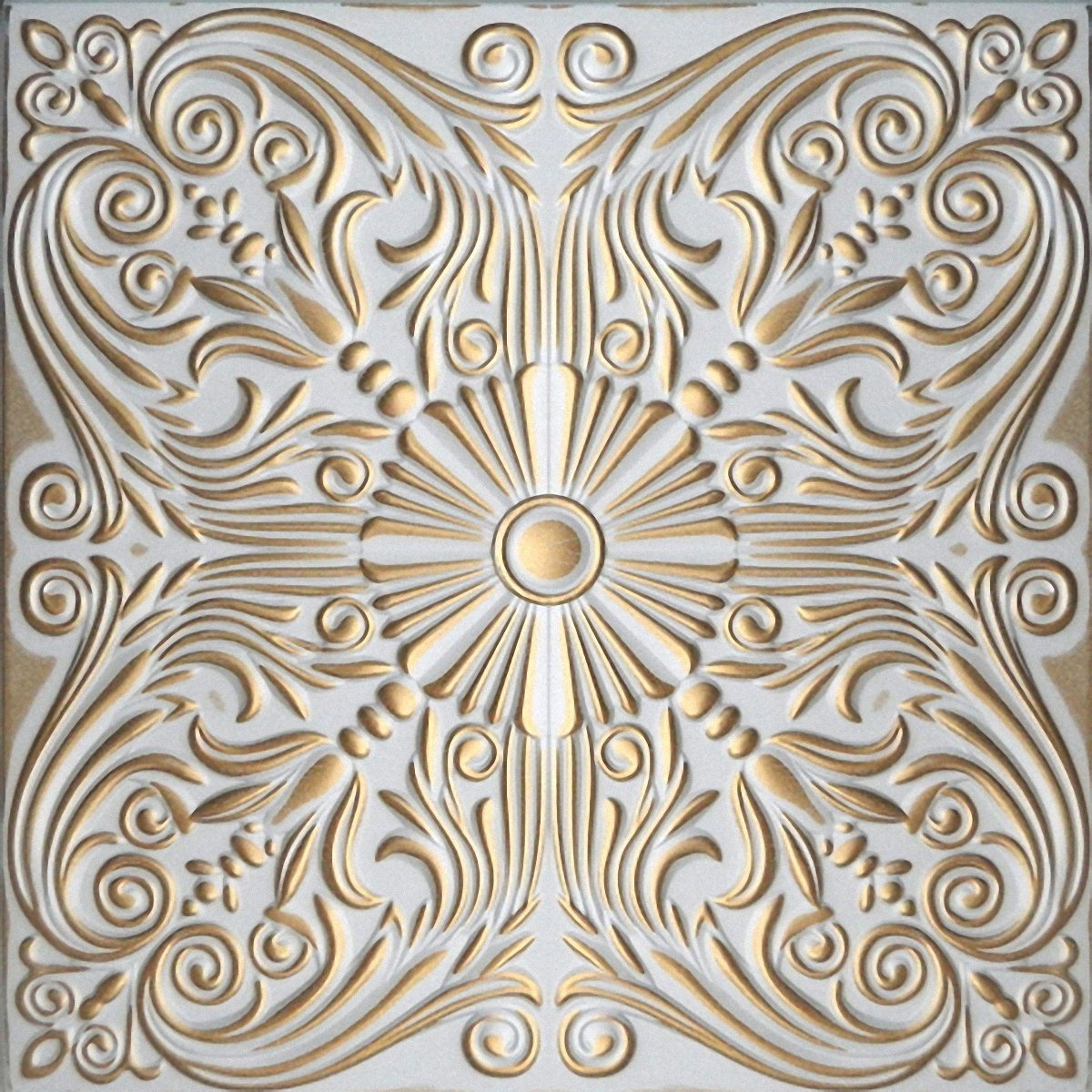 Hand Painted Polystyrene Foam Ceiling Tiles Retro 76 White - Gold (Pack 40 pcs / 10 sqm) Euro