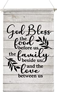 God Bless the food before us wooden Wall Canvas Art, Kitchen Sign Wall Decor, meal prayer Sign, Hanger Scroll Hanging Poster Decor 12 x 20 Inch