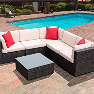 Furniwell 6 Pieces Patio Outdoor Furniture Sets, All Weather Modern Sectional PE Rattan Manual Wicker Conversation Set with Cushions and Glass Table