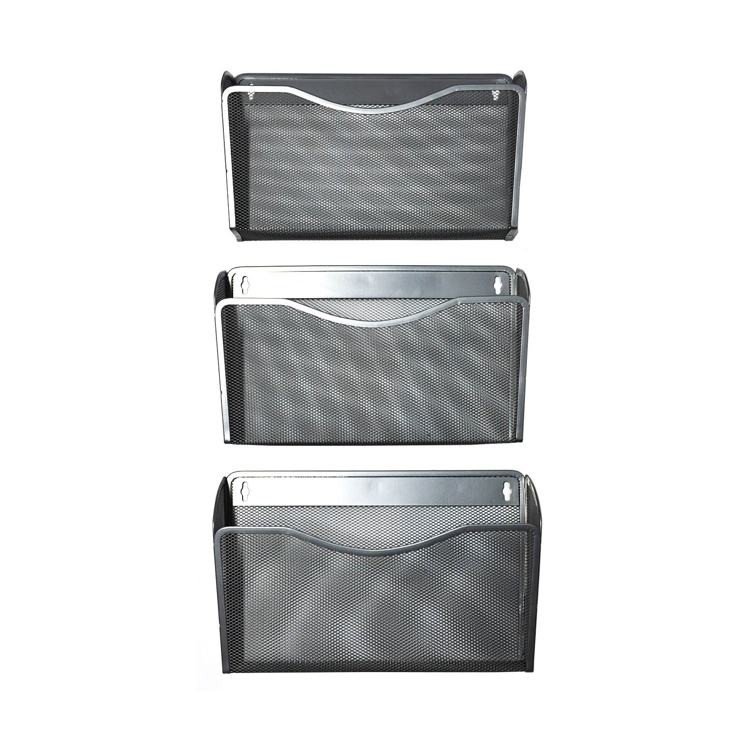 YIMU 3 Pack Mesh Hanging Wall Mount File Organizer Metal Mail Letter Pocket Holder for Home/Office, Silver